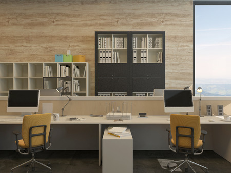 Two Work Stations in Modern Office with Yellow Chairs and Flat Screen Monitors