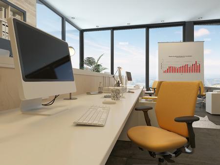 escritorios oficina escritorio en una moderna oficina de interior con un ordenador de escritorio grande