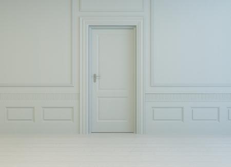 インテリア白い密室と塗られた寄木細工の床、白黒家具建築背景白のスタイリッシュな古典的なパネルをはめられた部屋