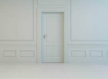Classic stylish white paneled room with a closed interior white door and painted parquet floor, monochrome unfurnished architectural background Stock Photo