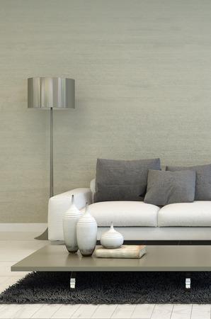 金属床ランプ、白いソファ、キャンドルのアクセントを持つコーヒー テーブル付きのモダンなリビング ルームの詳細 写真素材
