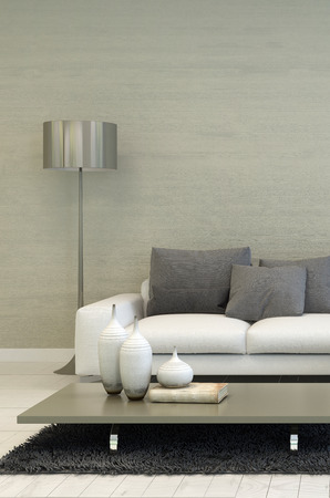 Detail of Modern Living Room with Metal Floor Lamp, White Sofa, and Coffee Table with Candle Accents Foto de archivo