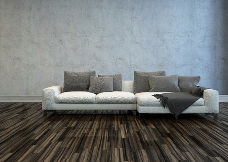 settee: White Sectional Sofa with Grey Cushions in Bare Room with Hardwood Floor and Grey Walls