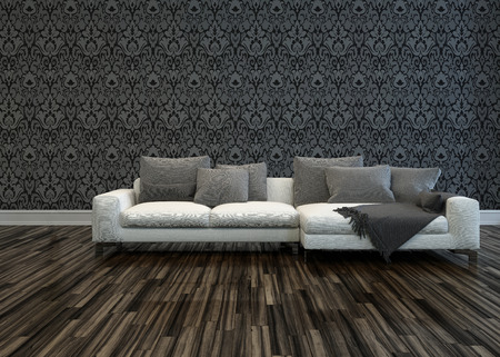 uncarpeted: White Sofa with Grey Cushions in Room with Grey Patterned Wallpaper and Hardwood Floor