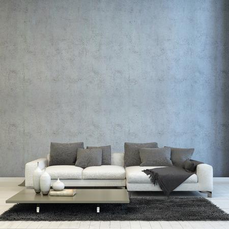 Arquitectónico de la sala de diseño, decoración basada Off White Couch, emparejado con Gray almohadas y alfombras, y Short gris Tabla.