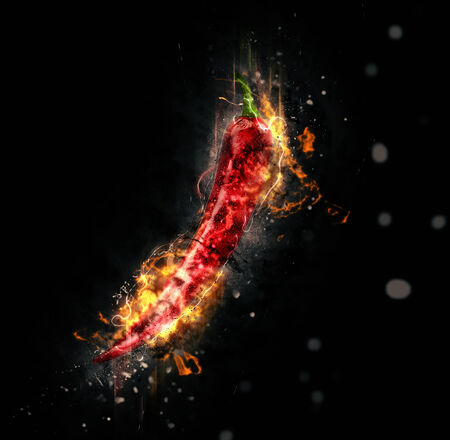 ignited: Red hot chili pepper consumed by fiery flames over a black background in a conceptual image of its spicy pungent fiery taste in cooking