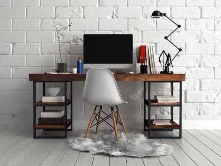 コンピューター、ランプおよび毛皮のような布の上の 1 つの椅子とペアにドキュメントの作業パーソナライズされたエレガントなテーブルの正面図
