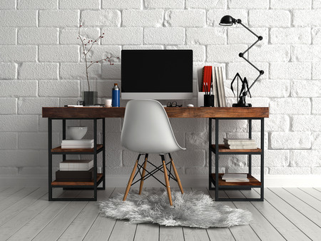 muebles de oficina: Vista frontal de la mesa de trabajo elegante personalizada con la computadora, l�mpara y Documentos, Emparejado con sola silla en un pa�o peludo.