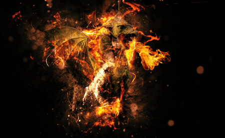 dragon fire: Conceptual Flaming Animal Creature on Black Background with Copy Space.