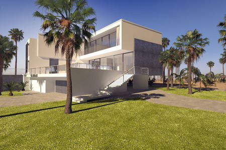 realty residence: Modern geometric luxury tropical villa with white washed walls and a landscaped garden with lawns and palm trees, exterior view on a sunny blue sky day