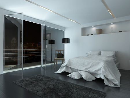 Elegant white modern bedroom interior with large view windows overlooking a night sky and balcony illuminated by recessed down lights with cool grey and white decor