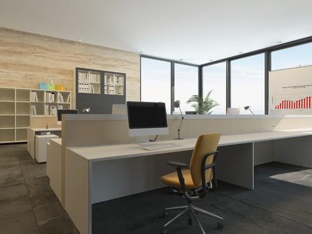 이 벽에 바닥에서 천장 유리 창문이있는 넓은 통풍이 잘되는 방에 긴 책상에서 여러 오픈 플랜 워크 스테이션과 현대적인 사무실 인테리어 스톡 콘텐츠