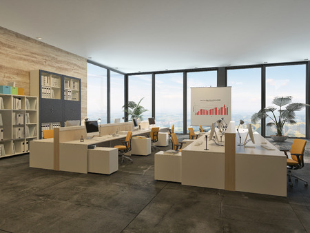 Large open-plan commercial office with rows of workstations and computers in a bright airy room with a glass wall letting in lots of daylight