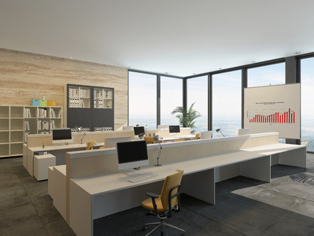 design office: Large bright open-plan commercial office interior with rows of workstations at wooden benches with bookcases filled with binders, a graph, and large floor-to-ceiling view windows