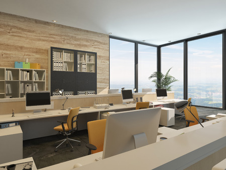 architectural building: Modern Minimalist Office with Work Stations and Large Windows in high rise Building