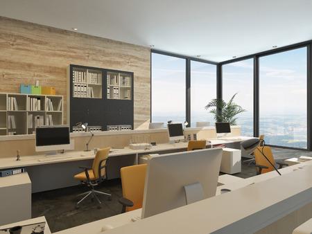 comercial: Oficina minimalista moderna con estaciones de trabajo y grandes ventanas en un edificio alto Foto de archivo
