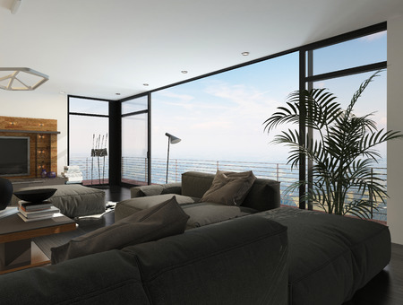 glazing: Interior of Modern Living Room with Large Windows in Highrise Condominium Apartment Stock Photo