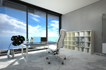 Bright modern spacious office interior with a large view window with blue cloudy sky, a table, chair and computer and white bookcase on a grey wall, corner view with sunshine