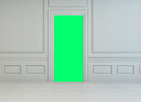 Fluorescent Green Interior Door In A Classic White Wooden Paneled