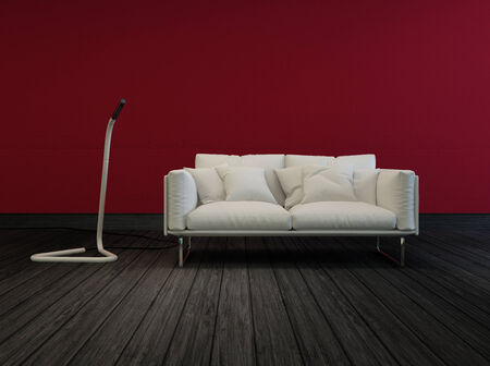 maroon leather: Small white two-sealer sofa in a sombre room with red walls and a dark wood floor with a modern free standing floor light in an architectural interior decor background
