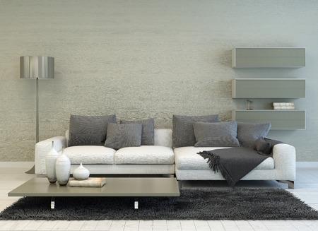 モダンなグレーと白リビング ルームの床ランプ、ソファ、コーヒー テーブル、とフローティング棚します。 写真素材