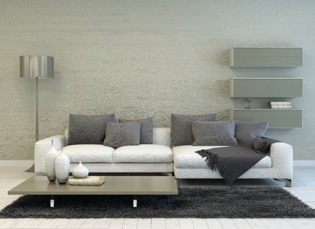 Modern Grey and White Living Room with Floor Lamp, Sofa, Coffee Table, and Floating Shelves