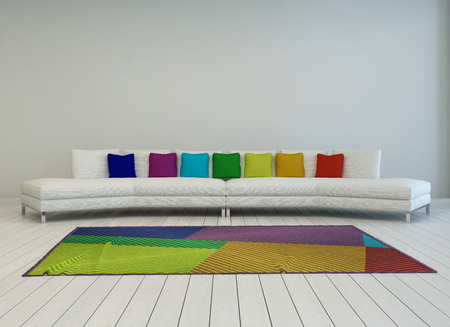 settee: Modern curved white couch with colorful cushions in the colors of the rainbow or spectrum with a matching multicolored carpet on a painted white parquet floor, grey wall behind