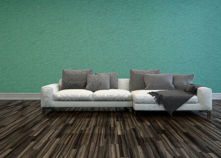 uncarpeted: White Sofa with Grey Cushions in Room with Hardwood Flooring and Teal-Green Colored Walls
