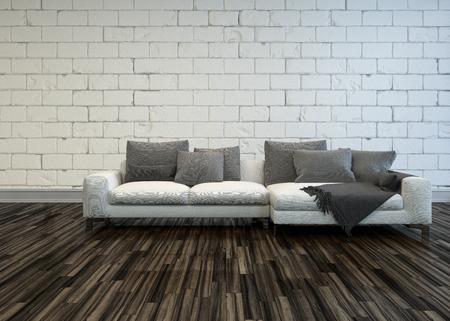 pokoj: Rustikální obývací pokoj interiér s velkým bílým pohovka s šedými polštáři na holé dřevěné parketové podlahy proti bílým nátěrem hrubý cihlová zeď