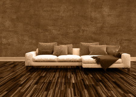 modular home: Conceptual Off White Couch with Brown Pillows Inside an Architectural Brown Empty Room.