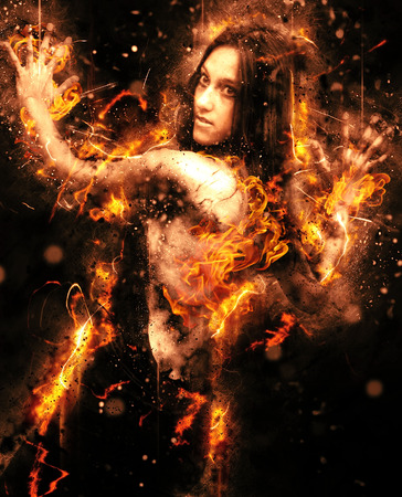 sex appeal: Conceptual half Body Portrait of Pretty Young Woman Posing with Flaming Effect on a Black Background. Stock Photo