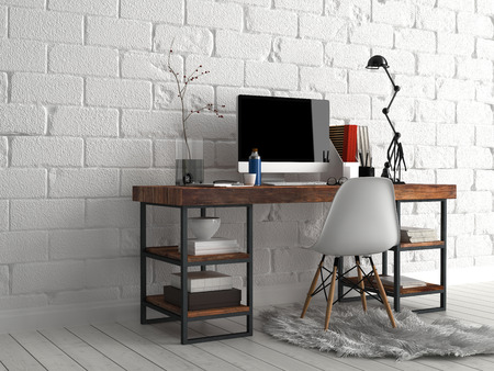 Diseño Arquitectónico - Mesa de trabajo elegante con la computadora, lámpara, florero y escritura de Suministros, Al lado blanco de la pared de hormigón