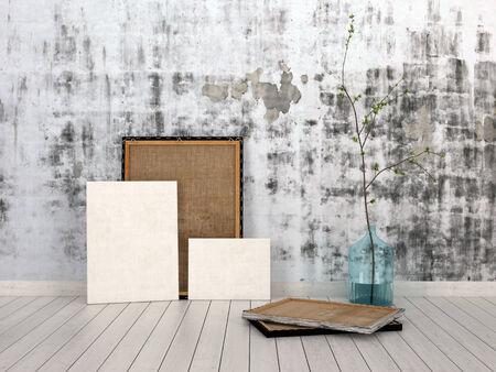 emphasising: Cornici e Boards Sottolineando Copy Space, Appoggiato su Unfinished muro di cemento all'interno di una stanza vuota con Bianco pavimentazione. Archivio Fotografico