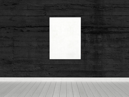 tableau: Conceptual White Board, with Copy Space, Hanging on Black Wall Inside an Empty Architectural Room. Stock Photo