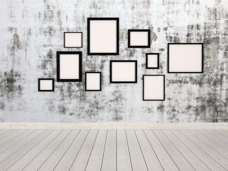 marcos cuadros: Grupo de los simples marcos de cuadros rectangulares vacíos en diferentes tamaños que cuelgan en una pared con un moteado gris modelo abstracto conceptual de una galería, exposición o museo Foto de archivo