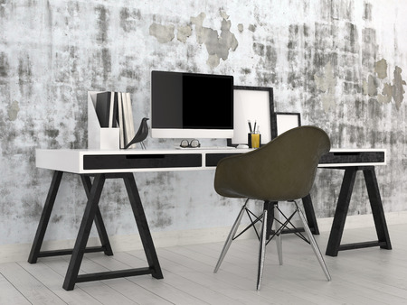 frame on wall: Elegante moderno in bianco e nero interno ufficio con una scrivania cavalletto con computer desktop, file e cornici contro un muro grigio astratto con una sedia nera modulare moderna