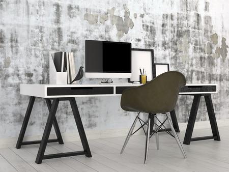 mur noir: Int�rieur noir et blanc �l�gant et moderne bureau avec un bureau chevalet avec ordinateur de bureau, aux fichiers et cadres photo contre un mur gris abstrait avec une chaise noire modulaire contemporaine