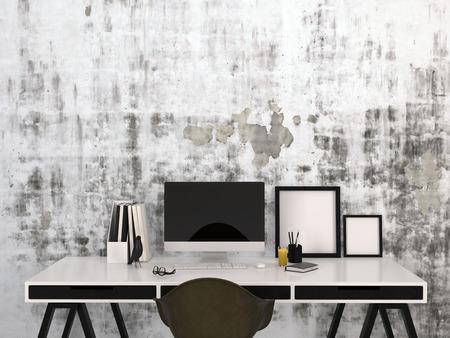 postazione lavoro: Elegante spazio di lavoro a casa in bianco e nero con un computer desktop e cornici in bianco su una scrivania elegante moderno con forniture per ufficio
