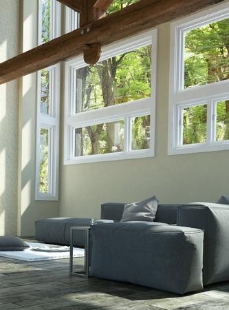 emphasising: Moderna Area architettonico Soggiorno con grigio sezionale del sof� del tessuto, Sottolineando Glass di Windows on the Wall