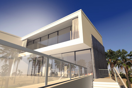Outdoor patio and living rooms of a luxury modern house in the tropics with a rectanglaur blocky design and large windows Standard-Bild