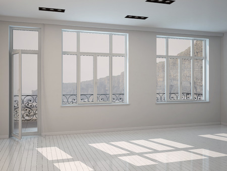 unfurnished: Interior of a bright sunny white room with a row of large windows and a patio door with white painted floorboards, unfurnished bare architectural background