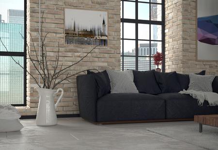 ladrillo: Interior de apartamentos urbanos Sala de estar con sof� y expuesta la pared de ladrillo Foto de archivo