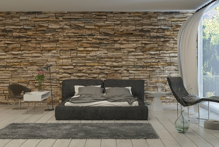 風通しの良いバルコニー、露出したレンガの壁と現代的なベッドルームのベッド