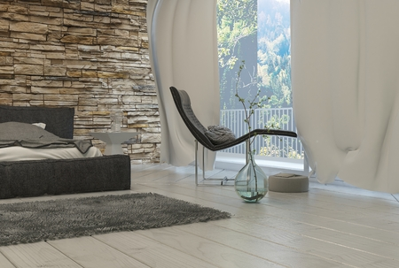 recliner: Elegant Black Lounge Chair Near Glass Window with White Curtains Inside an Architectural Bedroom.