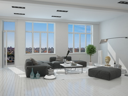 front room: Black and Gray Furniture in an Elegant Living Room Inside an Architectural White House