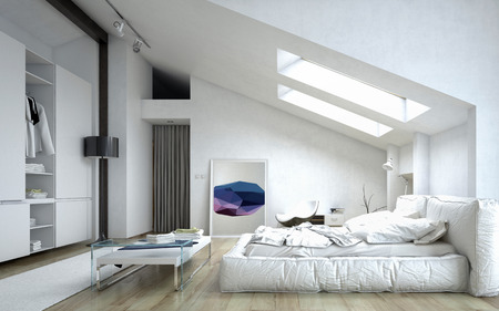 Architectural Bedroom with Table and Cabinet Inside a White Modern House