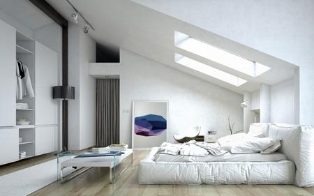 Architectural Slaapkamer tabel en kabinet binnen een witte Modern House Redactioneel