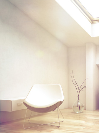 sleek: Close up White Lounge Chair Inside an Architectural Room Illuminated by Sunlight