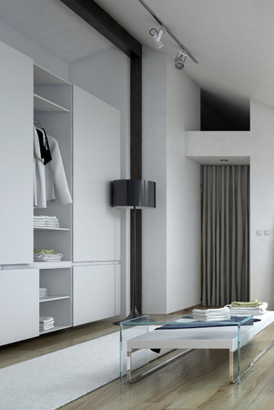 architectural wall: Architectural Wall Cabinet and Short Table Inside a White Modern Style Room Stock Photo