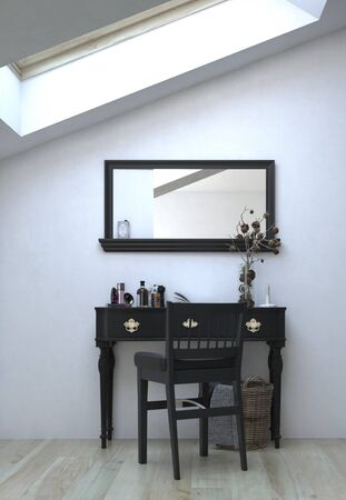 mirror on wall: Elegant Black Table with Chair and Mirror on White Wall Inside an Architectural House.